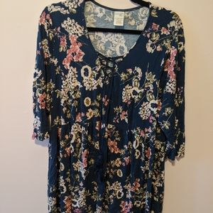 Navy blue and floral Dress